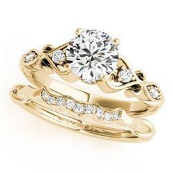 0.72 ctw Certified VS/SI Diamond 2pc Wedding Set Antique 14k Yellow Gold - REF-106A4N