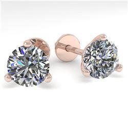 1.53 ctw Certified VS/SI Diamond Stud Earrings Martini 14k Rose Gold - REF-196A6N