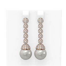 2.75 ctw Diamond & Pearl Earrings 18K Rose Gold - REF-229M6G
