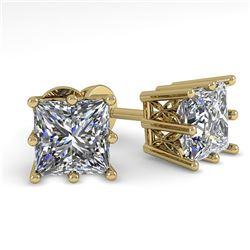 1.0 ctw VS/SI Princess Diamond Stud Solitaire Earrings 18k Yellow Gold - REF-147K2Y