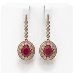 9.25 ctw Certified Ruby & Diamond Victorian Earrings 14K Rose Gold - REF-249X6A
