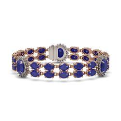 34.17 ctw Sapphire & Diamond Bracelet 14K Rose Gold - REF-247W2H