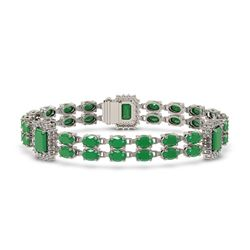 19.49 ctw Emerald & Diamond Bracelet 14K White Gold - REF-272F9M