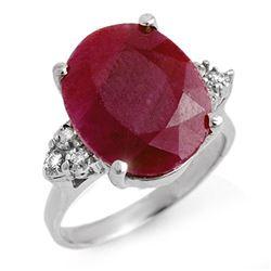 8.83 ctw Ruby & Diamond Ring 18k White Gold - REF-112A8N