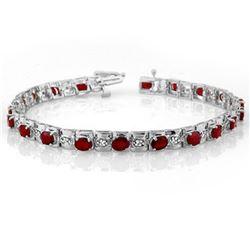 6.09 ctw Ruby & Diamond Bracelet 14k White Gold - REF-109X3A