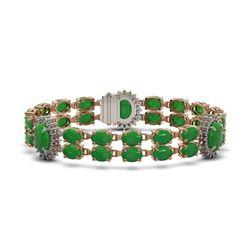 33.27 ctw Jade & Diamond Bracelet 14K Rose Gold - REF-354K5Y