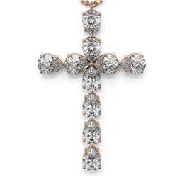 2 ctw Pear Diamond Designer Cross Necklace 18K Rose Gold - REF-228X2A