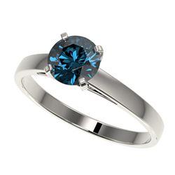 1 ctw Certified Intense Blue Diamond Engagment Ring 10k White Gold - REF-97F2M