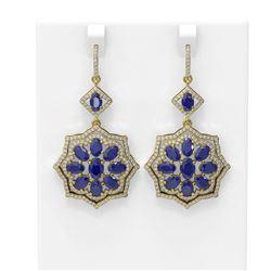 16.88 ctw Sapphire & Diamond Earrings 18K Yellow Gold - REF-342M2G