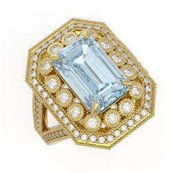 5.69 ctw Certified Aquamarine & Diamond Victorian Ring 14K Yellow Gold - REF-170W9H