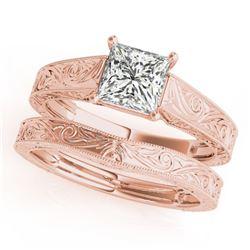1 ctw Certified VS/SI Princess Diamond 2pc Set Wedding 14k Rose Gold - REF-316G2W