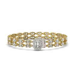 13.04 ctw Emerald Cut & Oval Diamond Bracelet 18K Yellow Gold - REF-1261N9F