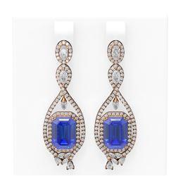 13.08 ctw Tanzanite & Diamond Earrings 18K Rose Gold - REF-872R8K