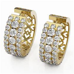 7.42 ctw Diamond Designer Earrings 18K Yellow Gold - REF-625X3A