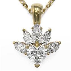 1.5 ctw Heart Diamond Designer Necklace 18K Yellow Gold - REF-388X5A