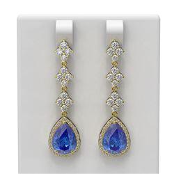 8.82 ctw Tanzanite & Diamond Earrings 18K Yellow Gold - REF-425R5K