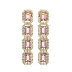10.73 ctw Morganite & Diamond Micro Pave Halo Earrings 10k Yellow Gold - REF-272K5Y