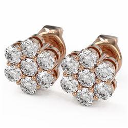 1 ctw Diamond Designer Earrings 18K Rose Gold - REF-68W2H