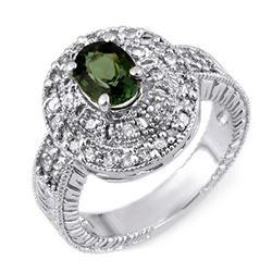 1.73 ctw Green Tourmaline & Diamond Ring 18k White Gold - REF-118R2K