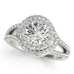1.9 ctw Certified VS/SI Diamond Halo Ring 18k White Gold - REF-318Y2X