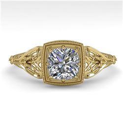 0.50 ctw Certified VS/SI Cushion Diamond Engagment Ring 18k Yellow Gold - REF-113R8K
