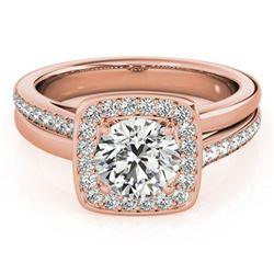 1.33 ctw Certified VS/SI Diamond Halo Ring 18k Rose Gold - REF-296W6H