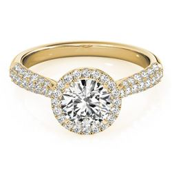1.4 ctw Certified VS/SI Diamond Halo Ring 18k Yellow Gold - REF-285Y3X