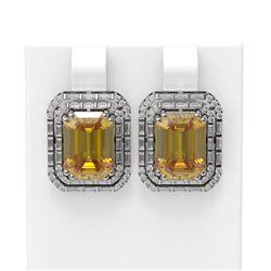 10.49 ctw Canary Citrine & Diamond Earrings 18K White Gold - REF-254A5N