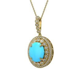 8.97 ctw Turquoise & Diamond Victorian Necklace 14K Yellow Gold - REF-245R5K