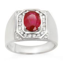 3.60 ctw Ruby & Diamond Men's Ring 14k White Gold - REF-104A5N