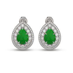 7.74 ctw Jade & Diamond Victorian Earrings 14K White Gold - REF-218H2R