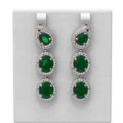21.3 ctw Emerald & Diamond Earrings 18K White Gold - REF-513M5G