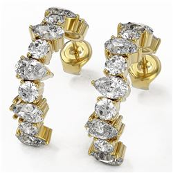 4.42 ctw Pear Cut Diamond Designer Earrings 18K Yellow Gold - REF-416G5W