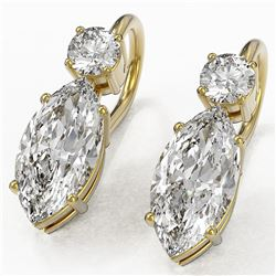 1.8 ctw Marquise Cut Diamond Designer Earrings 18K Yellow Gold - REF-259X3A