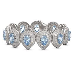 42.94 ctw Aquamarine & Diamond Victorian Bracelet 14K White Gold - REF-1722W9H