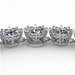 40 ctw Princess SI Certified Diamond Necklace 14k White Gold - REF-6345K2Y