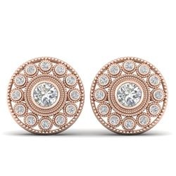 1.11 ctw VS/SI Diamond Art Deco Stud Earrings 14k Rose Gold - REF-134N5F