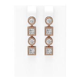 2.24 ctw Diamond Earrings 18K Rose Gold - REF-319A8N