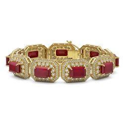 61.92 ctw Certified Ruby & Diamond Victorian Bracelet 14K Yellow Gold - REF-1288X4A