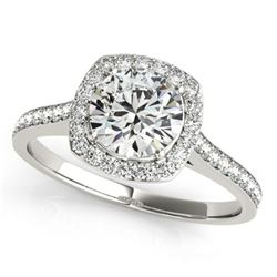 0.85 ctw Certified VS/SI Diamond Halo Ring 18k White Gold - REF-94N3F