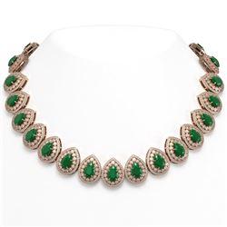 121.42 ctw Emerald & Diamond Victorian Necklace 14K Rose Gold - REF-3909X3A