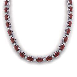 46.5 ctw Garnet & VS/SI Certified Diamond Eternity Necklace 10k White Gold - REF-245H5R