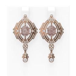10.64 ctw Morganite & Diamond Earrings 18K Rose Gold - REF-627W3H