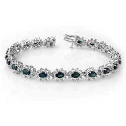 12.0 ctw Blue Sapphire & Diamond Bracelet 18k White Gold - REF-414F2M