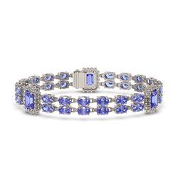 16.96 ctw Tanzanite & Diamond Bracelet 14K White Gold - REF-308F4M