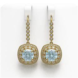 10.5 ctw Aquamarine & Diamond Victorian Earrings 14K Yellow Gold - REF-293H3R