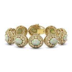 40.37 ctw Certified Opal & Diamond Victorian Bracelet 14K Yellow Gold - REF-1402A4N