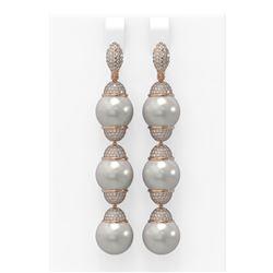 3 ctw Diamond & Pearl Earrings 18K Rose Gold - REF-358K9Y