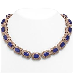 137.65 ctw Sapphire & Diamond Victorian Necklace 14K Rose Gold - REF-2875R6K