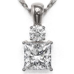 0.9 ctw Princess Cut Diamond Designer Necklace 18K White Gold - REF-139H2R